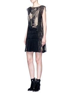 ChloéFloral lace gathered hem dress