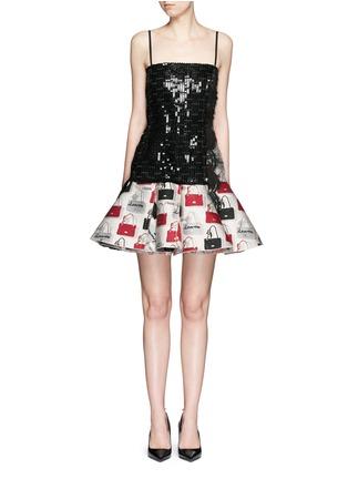 Detail View - Click To Enlarge - Lanvin - Sequin handbag jacquard flare dress