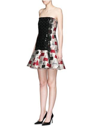 Front View - Click To Enlarge - Lanvin - Sequin handbag jacquard flare dress