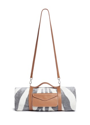 Main View - Click To Enlarge - Maslin & Co - Zebra stripe jacquard beach towel and leather carrier set