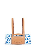 Jaguar jacquard beach towel and leather backpack carrier set