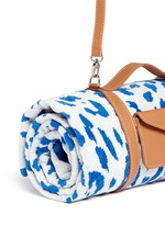Jaguar jacquard beach towel and leather carrier set