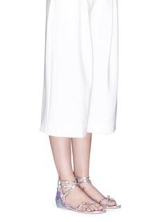 SOPHIA WEBSTER'Aurora Tempest Orchid' wave appliqué leather sandals