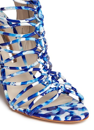 Detail View - Click To Enlarge - Sophia Webster - 'Lacey Oceana' print leather caged sandals