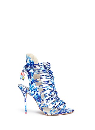 Main View - Click To Enlarge - Sophia Webster - 'Lacey Oceana' print leather caged sandals