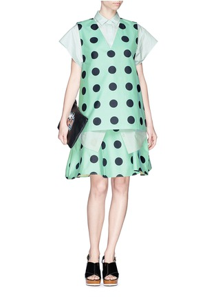 Figure View - Click To Enlarge - Chictopia - Polka dot print ruche flare skirt