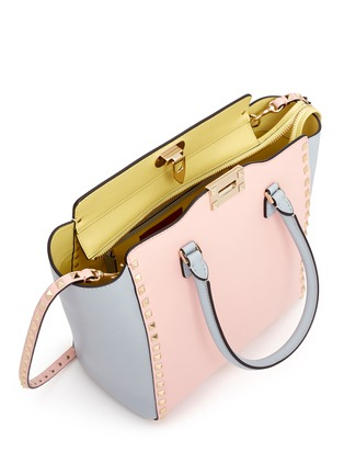 Detail View - Click To Enlarge - Valentino - 'Rockstud' medium pastel leather tote