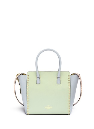 Back View - Click To Enlarge - Valentino - 'Rockstud' medium pastel leather tote