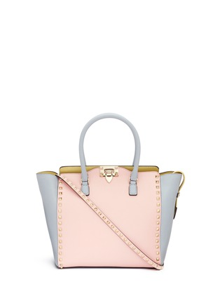 Main View - Click To Enlarge - Valentino - 'Rockstud' medium pastel leather tote