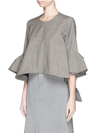 Front View - Click To Enlarge - Ellery - 'Neu' deconstructed bell sleeve top