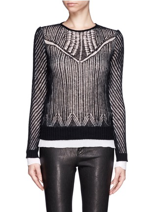 Main View - Click To Enlarge - Alexander McQueen - Wool-silk open knit top
