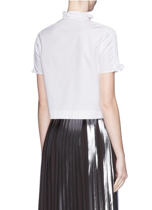 Back View - Click To Enlarge - KENZO - Shirred shoulder cotton poplin cropped top