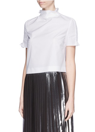 Front View - Click To Enlarge - KENZO - Shirred shoulder cotton poplin cropped top