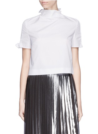 Main View - Click To Enlarge - KENZO - Shirred shoulder cotton poplin cropped top