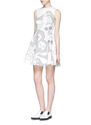 Figure View - Click To Enlarge - Opening Ceremony - 'ASCII Girls' neoprene flare dress