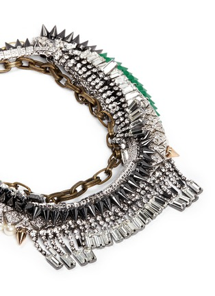 Detail View - Click To Enlarge - Venna - Tribal bead crystal fringe spike necklace