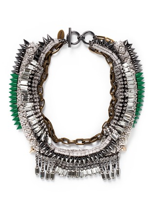 Main View - Click To Enlarge - Venna - Tribal bead crystal fringe spike necklace