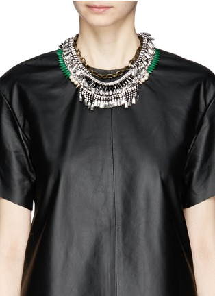 Figure View - Click To Enlarge - Venna - Tribal bead crystal fringe spike necklace