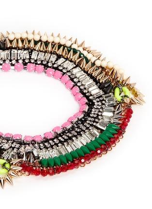 Detail View - Click To Enlarge - Venna - Crystal fringe spike plastron necklace