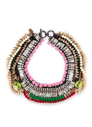 Main View - Click To Enlarge - Venna - Crystal fringe spike plastron necklace