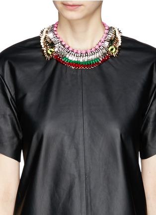 Figure View - Click To Enlarge - Venna - Crystal fringe spike plastron necklace