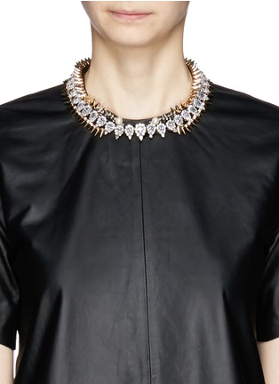 Figure View - Click To Enlarge - Venna - Crystal spike leather band necklace