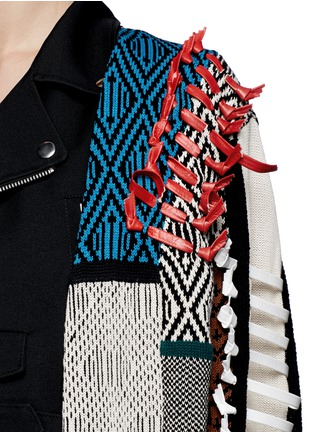 Detail View - Click To Enlarge - TOGA ARCHIVES - Faux leather ribbon jacquard cardigan combo biker jacket