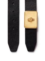 Skull plaque buckle leather belt