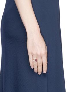 Delfina Delettrez'Lips Piercing' pearl ruby pavé open ring