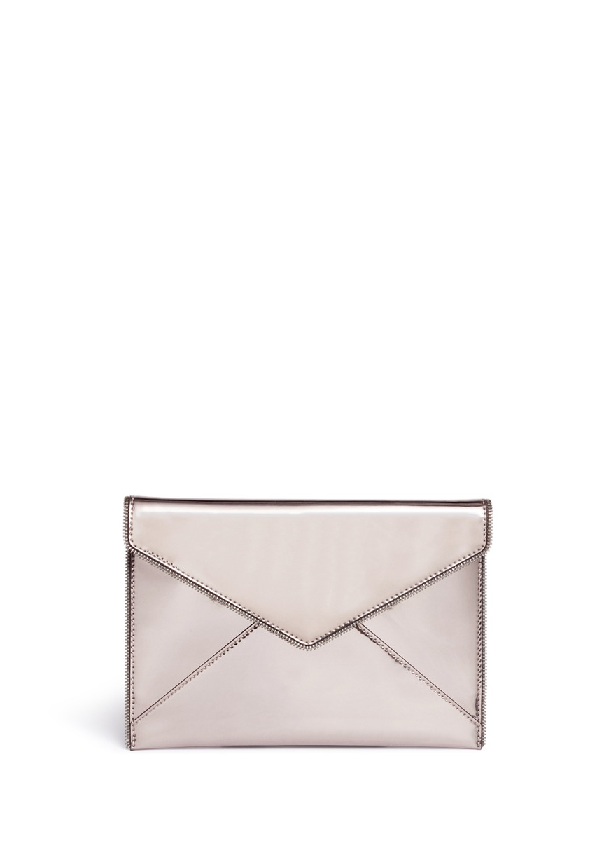 Leo mirror leather envelope clutch by Rebecca Minkoff