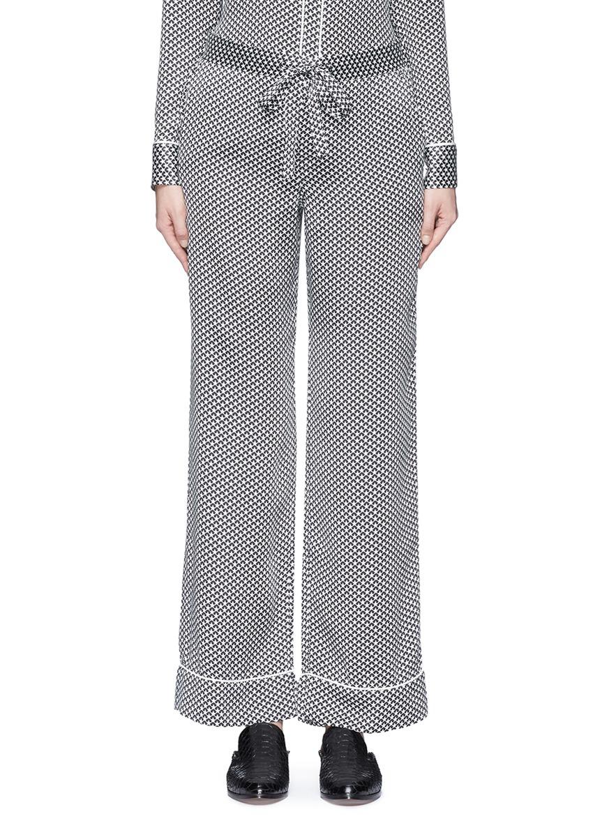 x Kate Moss Avery star print silk pyjama pants by Equipment