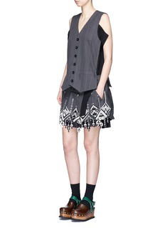 Sacai Tribal lace pinstripe vest suit dress
