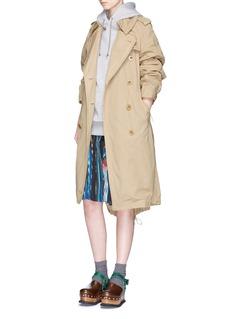 SacaiMexican stripe print plissé pleat wrap skirt