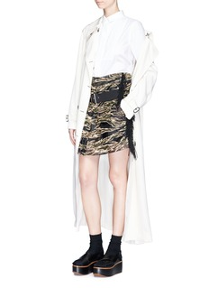 Sacai Camouflage embroidered organza overlay belted skirt