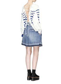SacaiLace-up open back stripe sweater