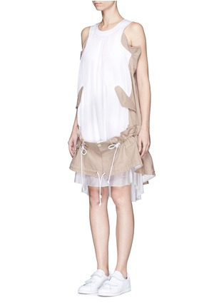 Front View - Click To Enlarge - Sacai - Twill panel plissé pleated drawstring dress