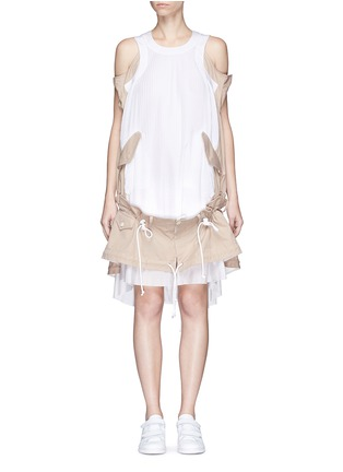 Main View - Click To Enlarge - Sacai - Twill panel plissé pleated drawstring dress