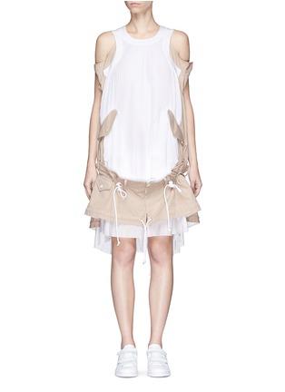 Sacai-Twill panel plissé pleated drawstring dress
