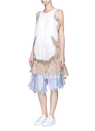 Figure View - Click To Enlarge - Sacai - Twill panel plissé pleated drawstring dress