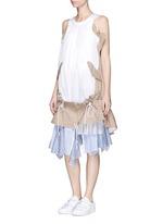 Twill panel plissé pleated drawstring dress