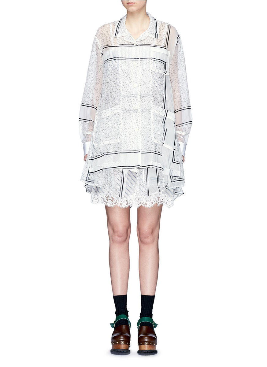 Polka dot print lace hem organza dress by Sacai