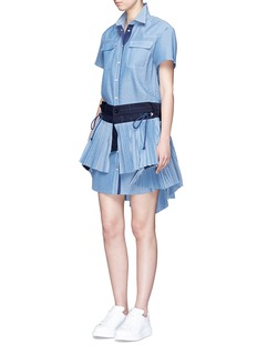 Sacai Drawstring wrap panel pleated chambray dress