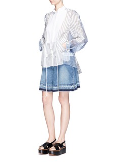 Sacai Pleated raw edge washed denim shorts