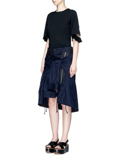 Sacai Stripe zip jacket overlay twill skirt