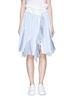 SacaiOrganza trim stripe plissé wrap front skirt