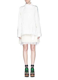 SacaiSilk satin jacket corduroy skirt layered dress