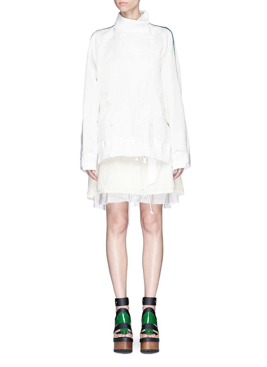 Silk satin jacket corduroy skirt layered dress by Sacai