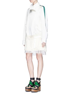 Sacai Silk satin jacket corduroy skirt layered dress