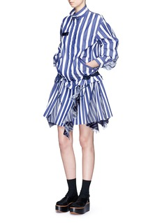 Sacai Silk organza panel pleated hem stripe dress