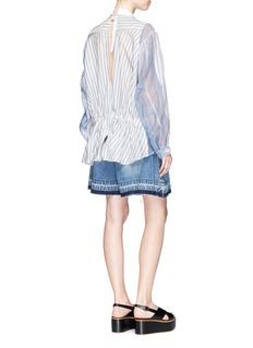 SacaiPiqué bib stripe silk organza panel shirt